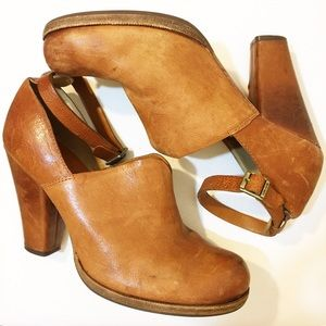 Kork-Ease Brown Leather Booties Ankle Strap
